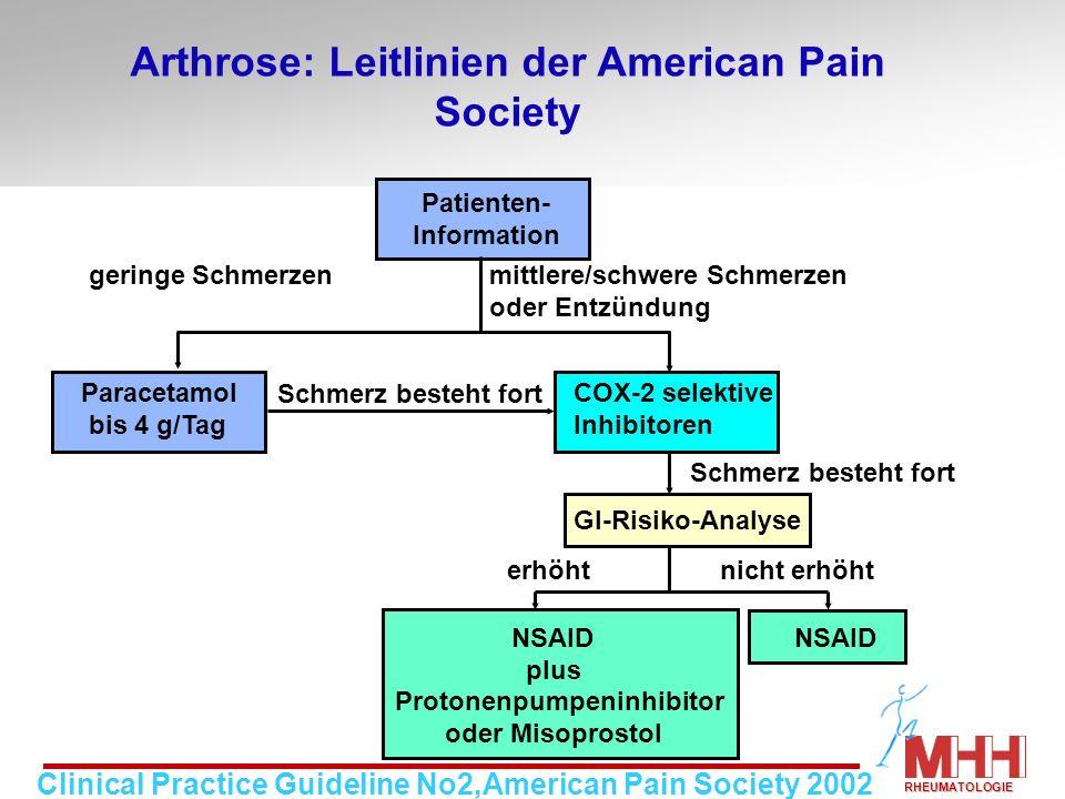 Arthrose: Leitlinien der American Pain Society Patienten- Information geringe Schmerzen mittlere/schwere Schmerzen oder Entzündung Paracetamol COX-2 s
