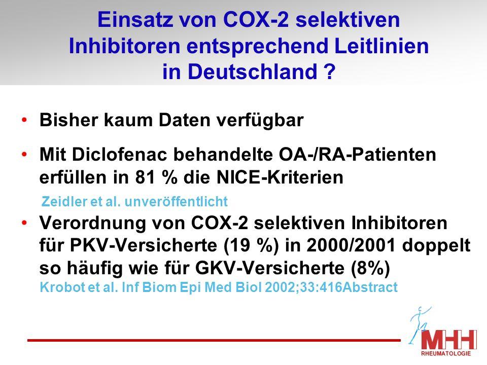 Bisher kaum Daten verfügbar Mit Diclofenac behandelte OA-/RA-Patienten erfüllen in 81 % die NICE-Kriterien Zeidler et al. unveröffentlicht Verordnung