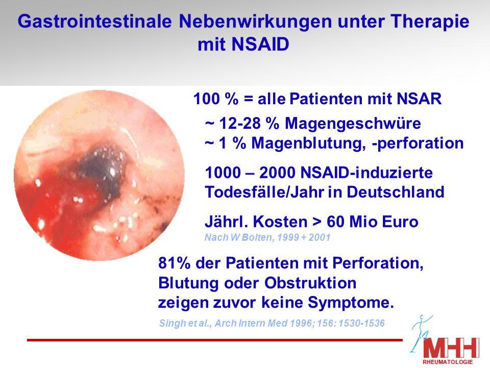 Gastrointestinale Nebenwirkungen unter Therapie mit NSAID 100 % = alle Patienten mit NSAR ~ 12-28 % Magengeschwüre ~ 1 % Magenblutung, -perforation 10