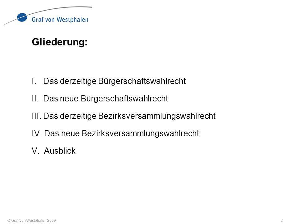 © Graf von Westphalen 20092 Gliederung: I. Das derzeitige Bürgerschaftswahlrecht II.