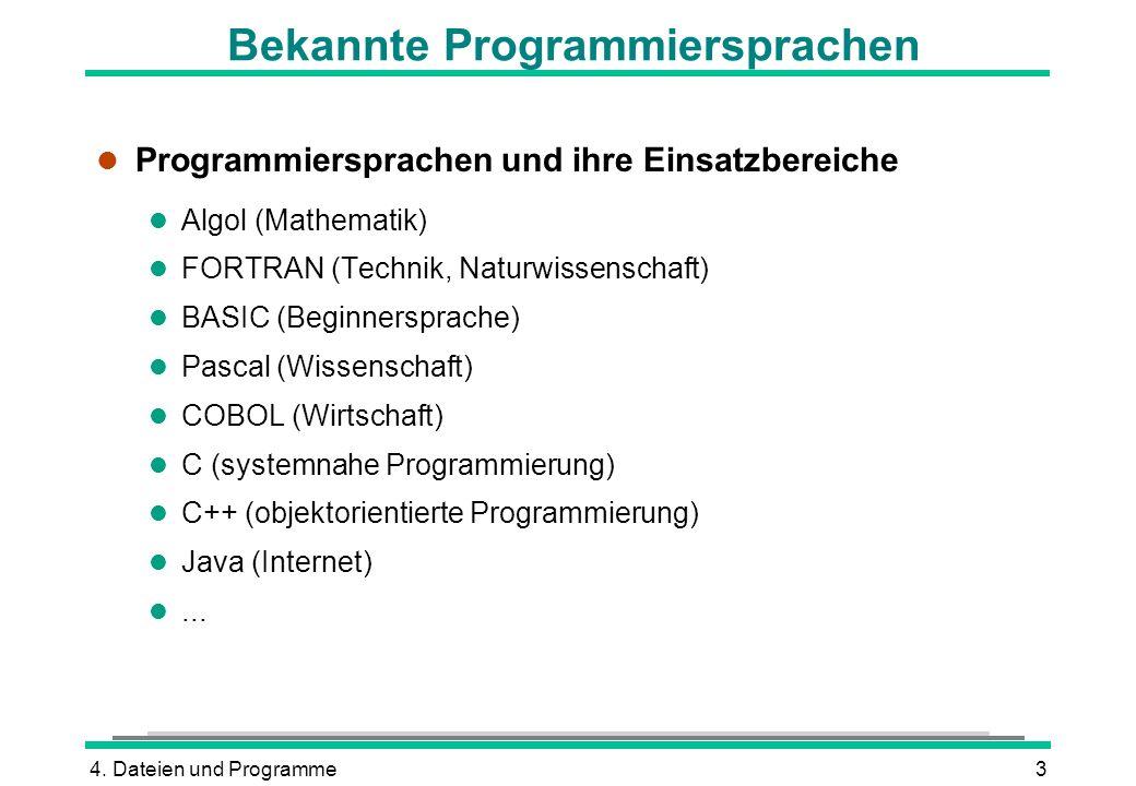 4. Dateien und Programme3 Bekannte Programmiersprachen l Programmiersprachen und ihre Einsatzbereiche l Algol (Mathematik) l FORTRAN (Technik, Naturwi