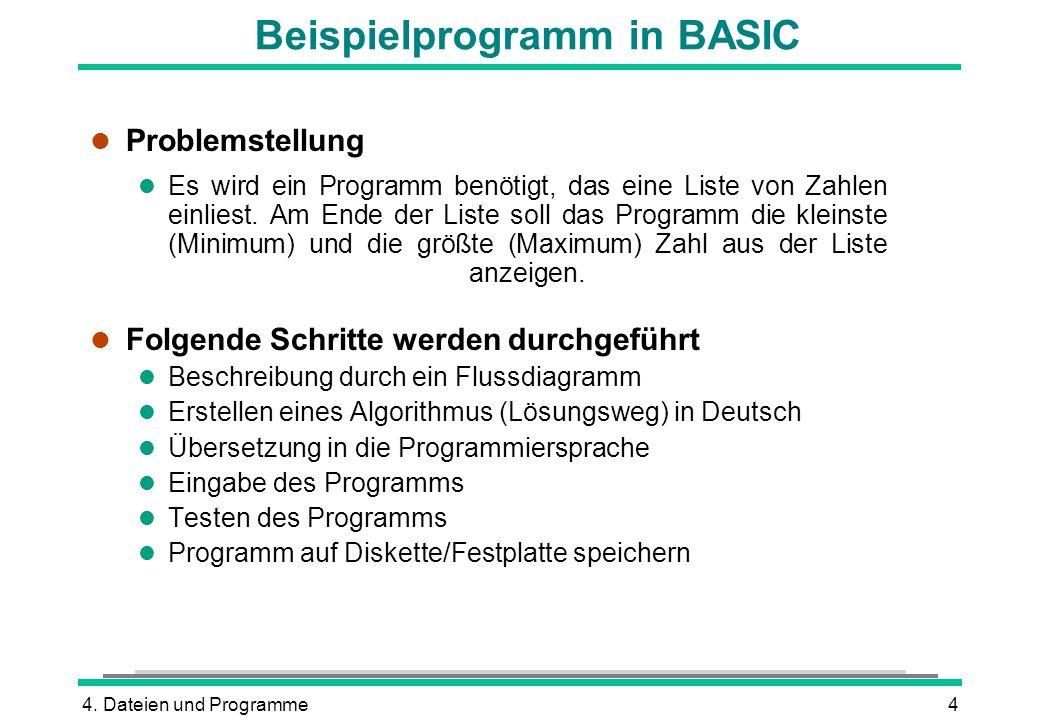 4. Dateien und Programme4 Beispielprogramm in BASIC l Problemstellung l Es wird ein Programm benötigt, das eine Liste von Zahlen einliest. Am Ende der