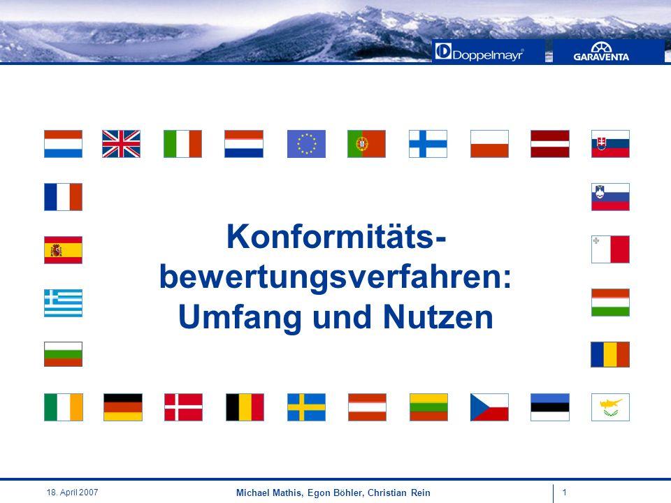 118. April 2007 Michael Mathis, Egon Böhler, Christian Rein Konformitäts- bewertungsverfahren: Umfang und Nutzen