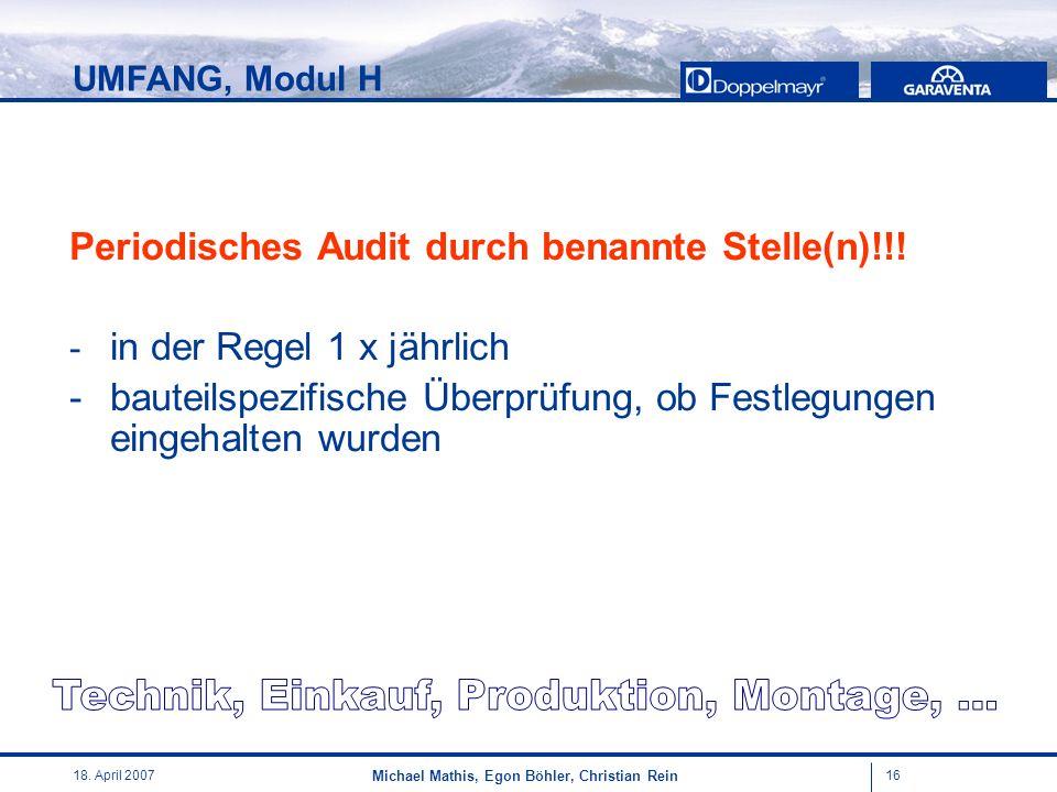 1618. April 2007 Michael Mathis, Egon Böhler, Christian Rein Periodisches Audit durch benannte Stelle(n)!!! - in der Regel 1 x jährlich - bauteilspezi