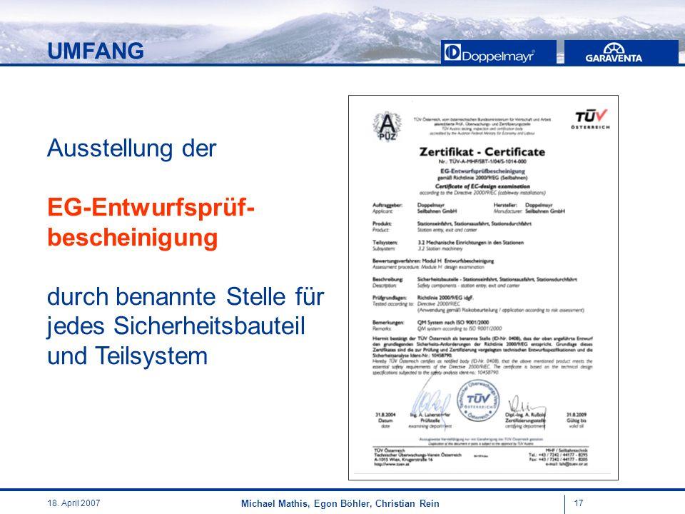 1718. April 2007 Michael Mathis, Egon Böhler, Christian Rein Ausstellung der EG-Entwurfsprüf- bescheinigung durch benannte Stelle für jedes Sicherheit