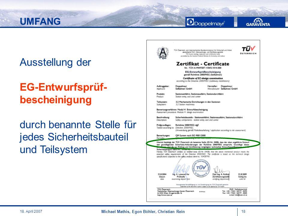 1818. April 2007 Michael Mathis, Egon Böhler, Christian Rein Ausstellung der EG-Entwurfsprüf- bescheinigung durch benannte Stelle für jedes Sicherheit