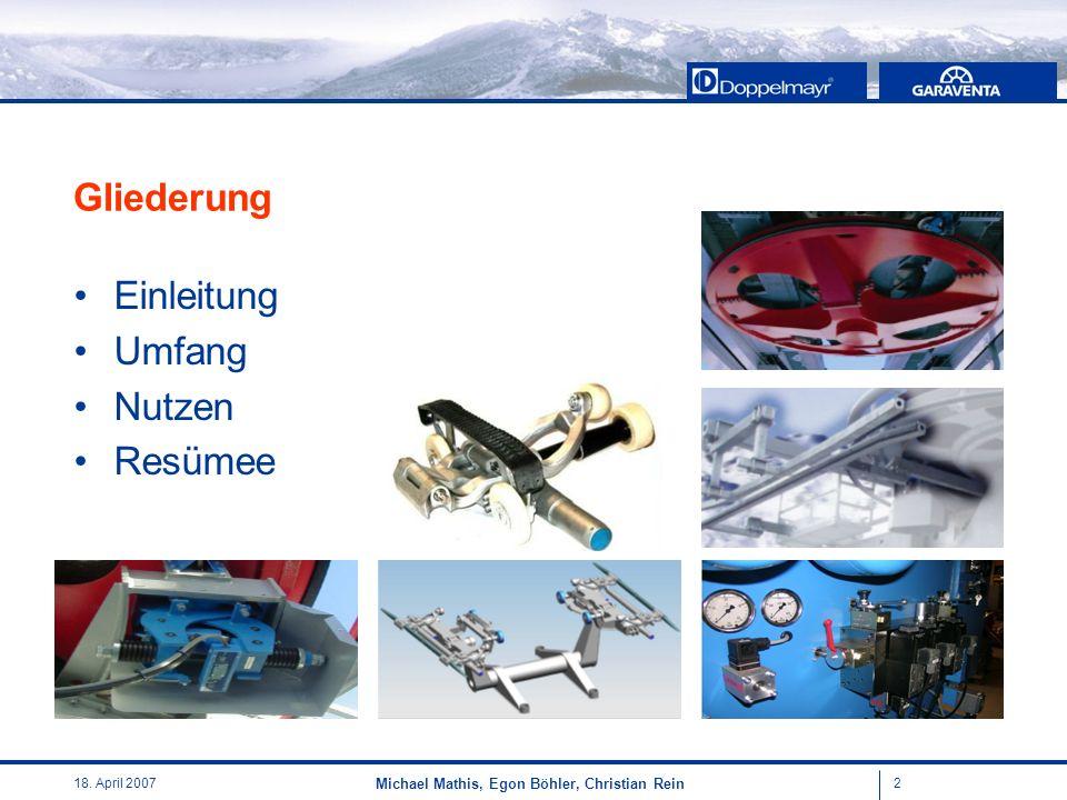 218. April 2007 Michael Mathis, Egon Böhler, Christian Rein Gliederung Einleitung Umfang Nutzen Resümee