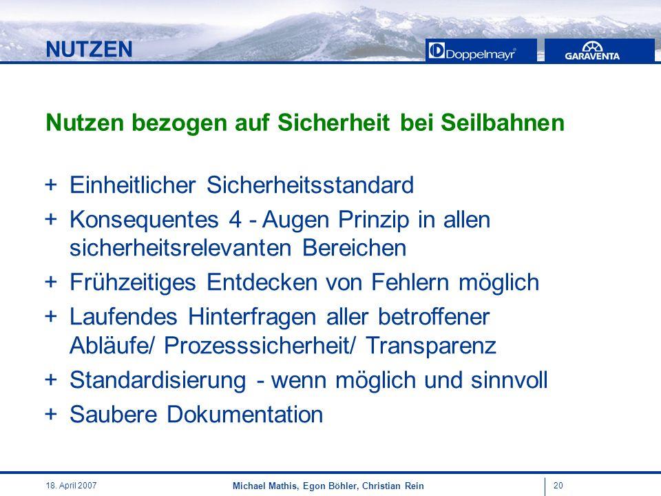 2018. April 2007 Michael Mathis, Egon Böhler, Christian Rein + Einheitlicher Sicherheitsstandard + Konsequentes 4 - Augen Prinzip in allen sicherheits