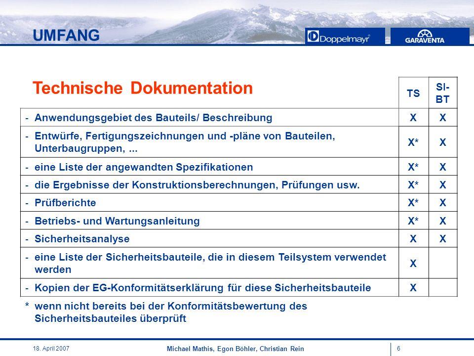 618. April 2007 Michael Mathis, Egon Böhler, Christian Rein TS SI- BT - Anwendungsgebiet des Bauteils/ BeschreibungXX - Entwürfe, Fertigungszeichnunge