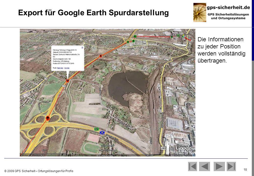 © 2009 GPS Sicherheit – Ortungslösungen für Profis 18 Export für Google Earth Spurdarstellung Die Informationen zu jeder Position werden vollständig ü