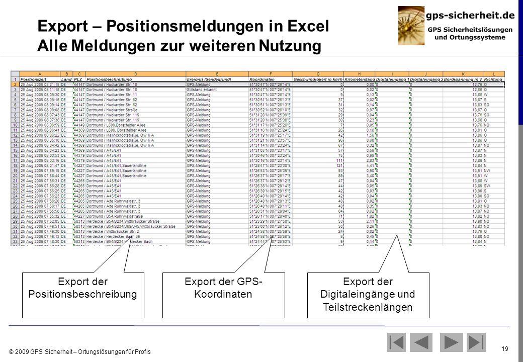 © 2009 GPS Sicherheit – Ortungslösungen für Profis 19 Export – Positionsmeldungen in Excel Alle Meldungen zur weiteren Nutzung Export der Positionsbes
