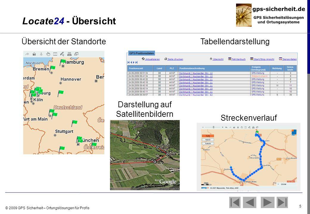 © 2009 GPS Sicherheit – Ortungslösungen für Profis 5 Übersicht der StandorteTabellendarstellung Darstellung auf Satellitenbildern Streckenverlauf Loca
