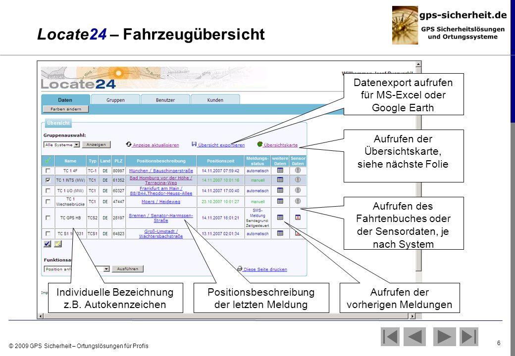 © 2009 GPS Sicherheit – Ortungslösungen für Profis 6 Locate24 – Fahrzeugübersicht Individuelle Bezeichnung z.B. Autokennzeichen Positionsbeschreibung