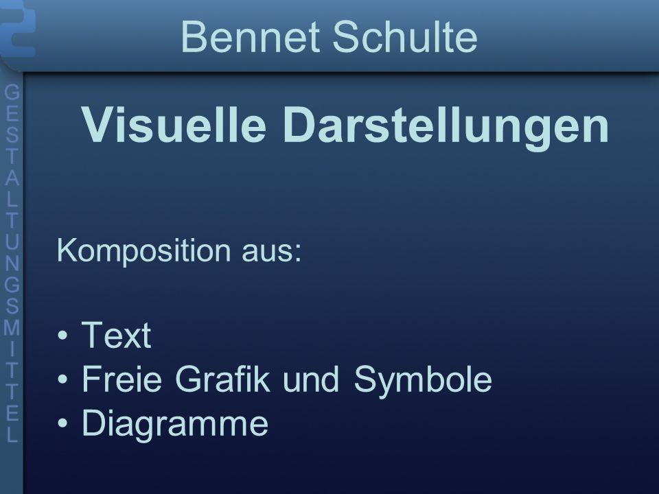 Visuelle Darstellungen Komposition aus: Text Freie Grafik und Symbole Diagramme Bennet Schulte