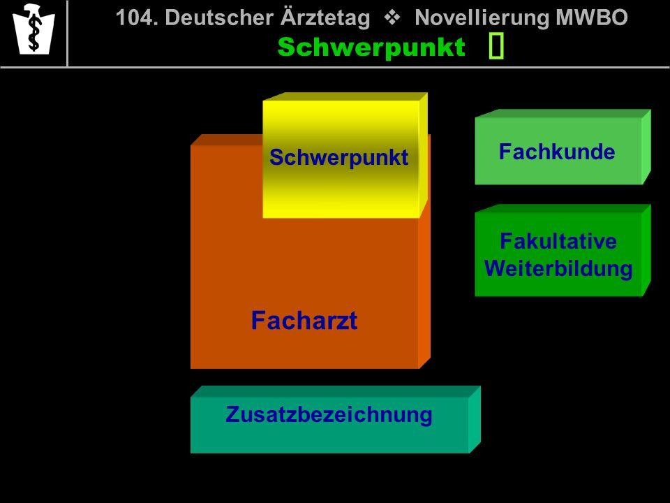 Schwerpunkt Fachkunde Fakultative Weiterbildung 104. Deutscher Ärztetag Novellierung MWBO Facharzt Schwerpunkt Zusatzbezeichnung Schwerpunkt