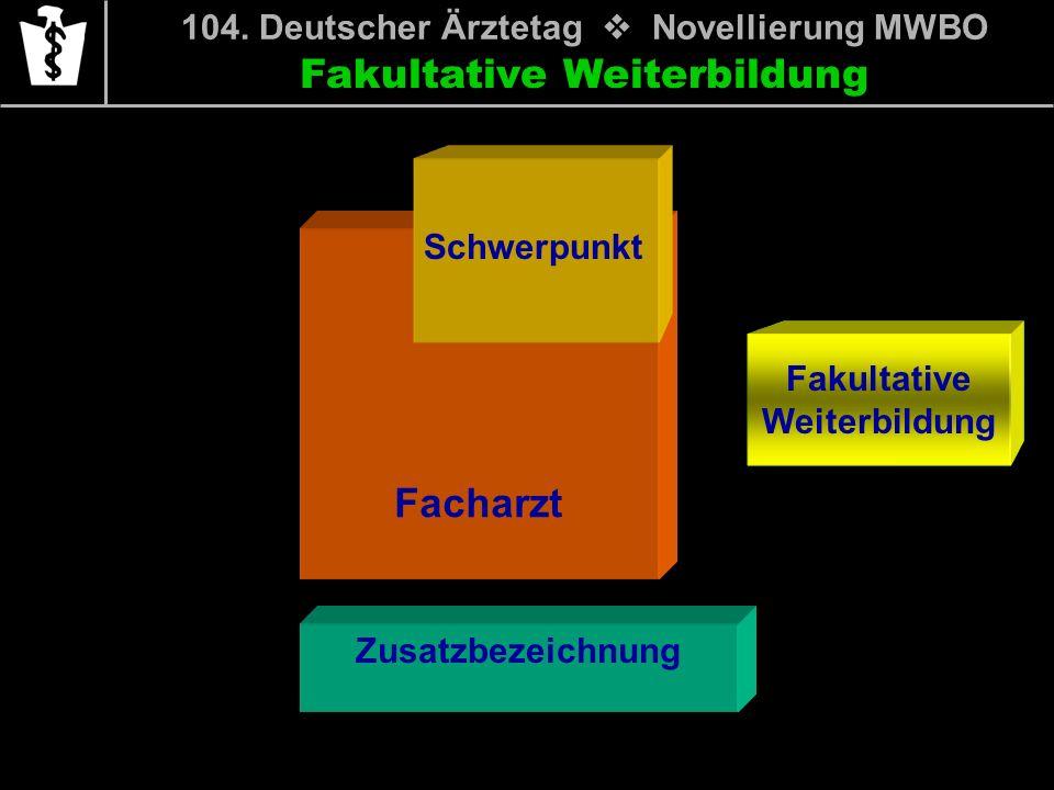 Fakultative Weiterbildung 104. Deutscher Ärztetag Novellierung MWBO Facharzt Schwerpunkt Zusatzbezeichnung
