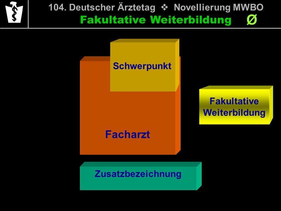 Fakultative Weiterbildung Ø 104. Deutscher Ärztetag Novellierung MWBO Facharzt Schwerpunkt Zusatzbezeichnung