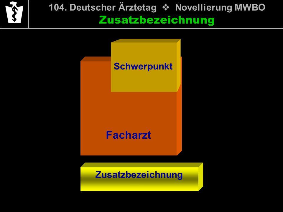 104. Deutscher Ärztetag Novellierung MWBO Facharzt Schwerpunkt Zusatzbezeichnung