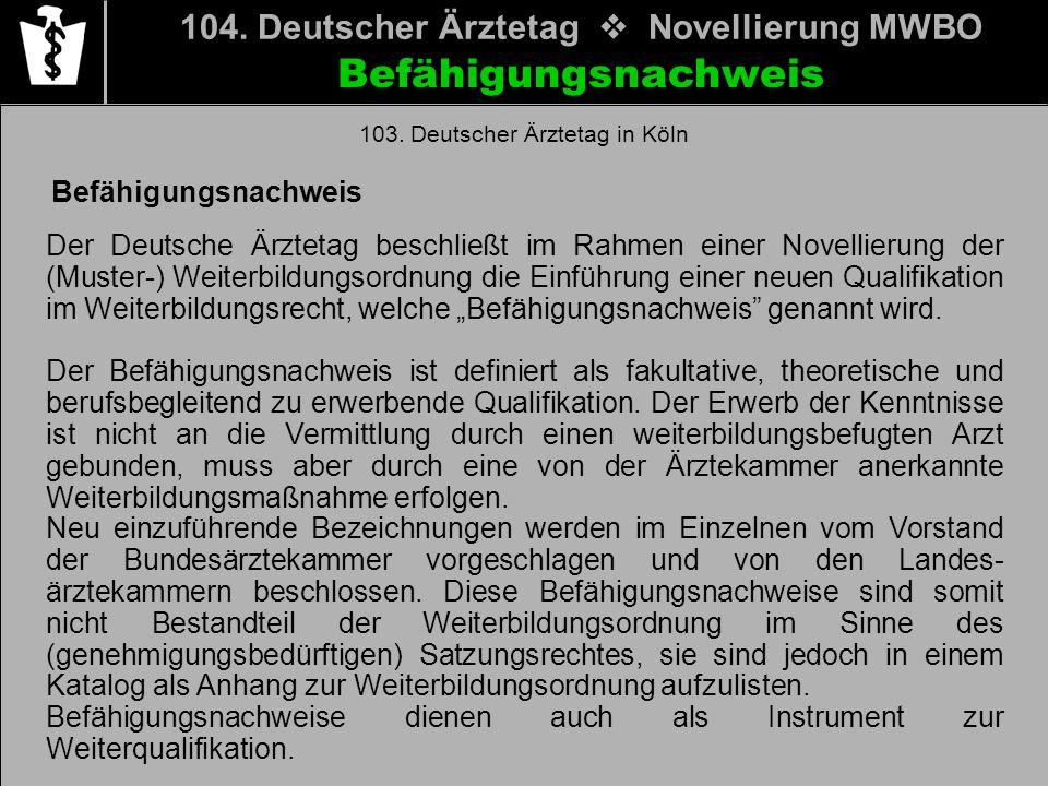 Befähigungsnachweis 104. Deutscher Ärztetag Novellierung MWBO Befähigungsnachweis Der Deutsche Ärztetag beschließt im Rahmen einer Novellierung der (M