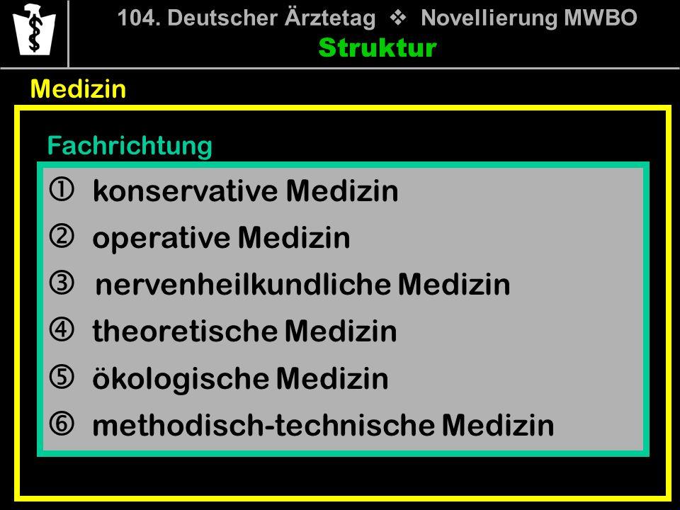 104. Deutscher Ärztetag Novellierung MWBO Struktur Medizin Fachrichtung konservative Medizin operative Medizin nervenheilkundliche Medizin theoretisch