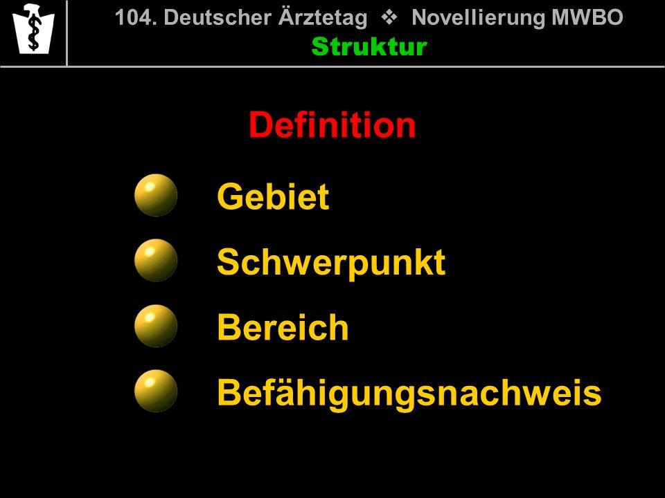 Struktur Gebiet Schwerpunkt Bereich Befähigungsnachweis 104. Deutscher Ärztetag Novellierung MWBO Definition