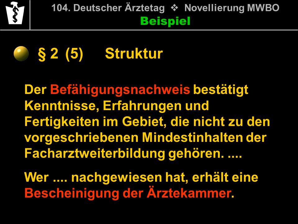 Beispiel § 2 104. Deutscher Ärztetag Novellierung MWBO Der Befähigungsnachweis bestätigt Kenntnisse, Erfahrungen und Fertigkeiten im Gebiet, die nicht