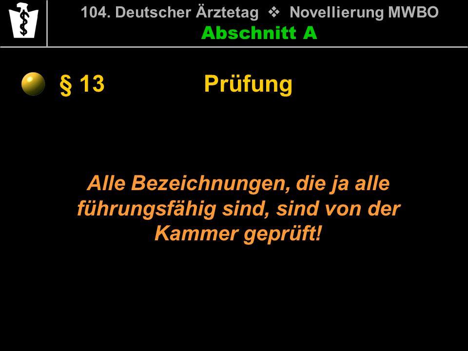 Abschnitt A § 13 104. Deutscher Ärztetag Novellierung MWBO Alle Bezeichnungen, die ja alle führungsfähig sind, sind von der Kammer geprüft! Prüfung