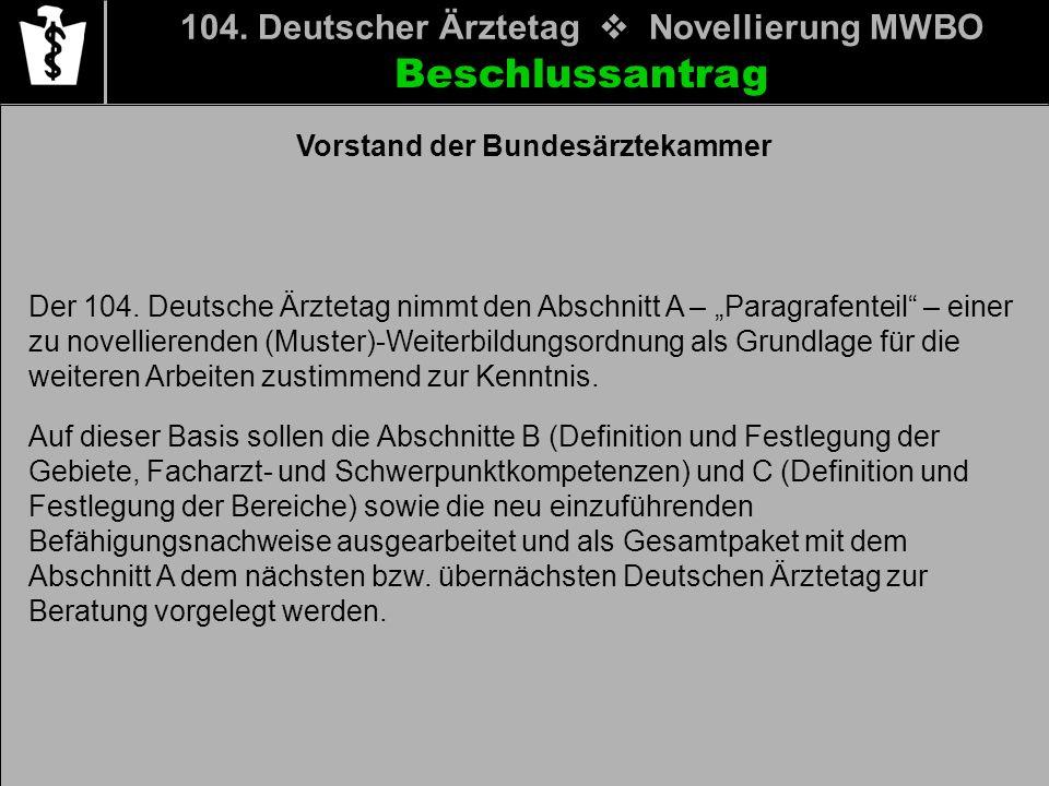 Beschlussantrag 104. Deutscher Ärztetag Novellierung MWBO Der 104. Deutsche Ärztetag nimmt den Abschnitt A – Paragrafenteil – einer zu novellierenden