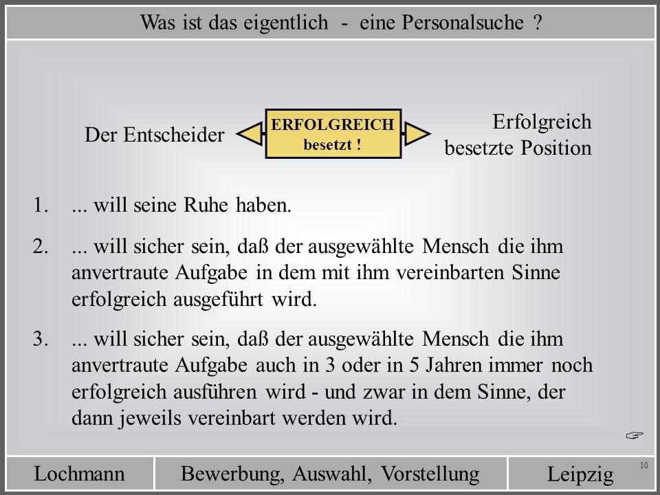 Leipzig Bewerbung, Auswahl, VorstellungLochmann 10 Was ist das eigentlich - eine Personalsuche ? Erfolgreich besetzte Position Der Entscheider ERFOLGR