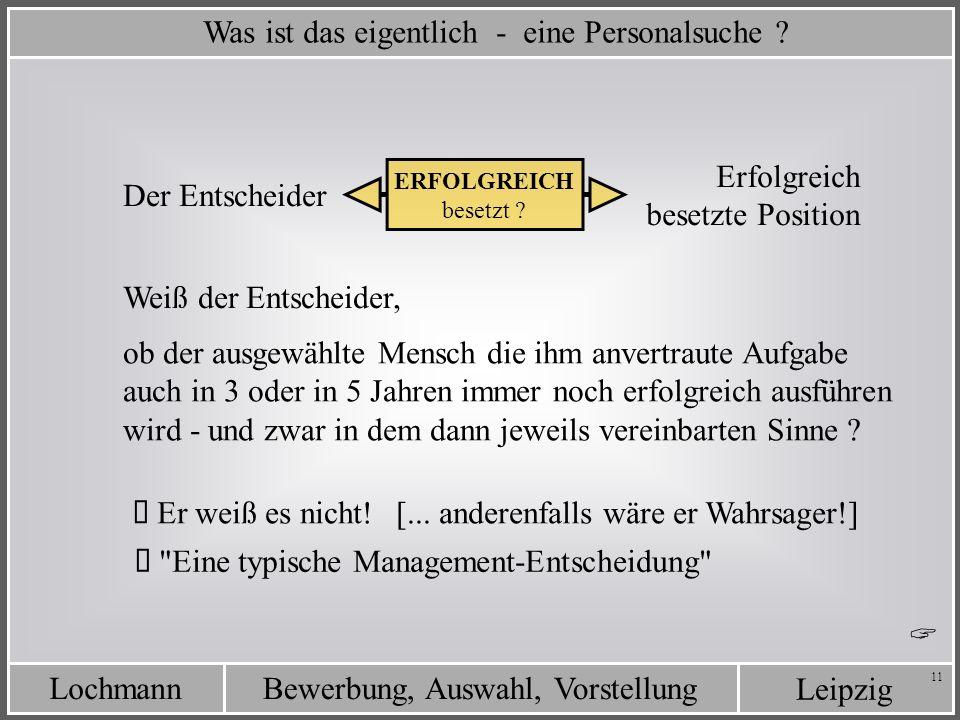 Leipzig Bewerbung, Auswahl, VorstellungLochmann 11 Was ist das eigentlich - eine Personalsuche ? Erfolgreich besetzte Position ERFOLGREICH besetzt ? E