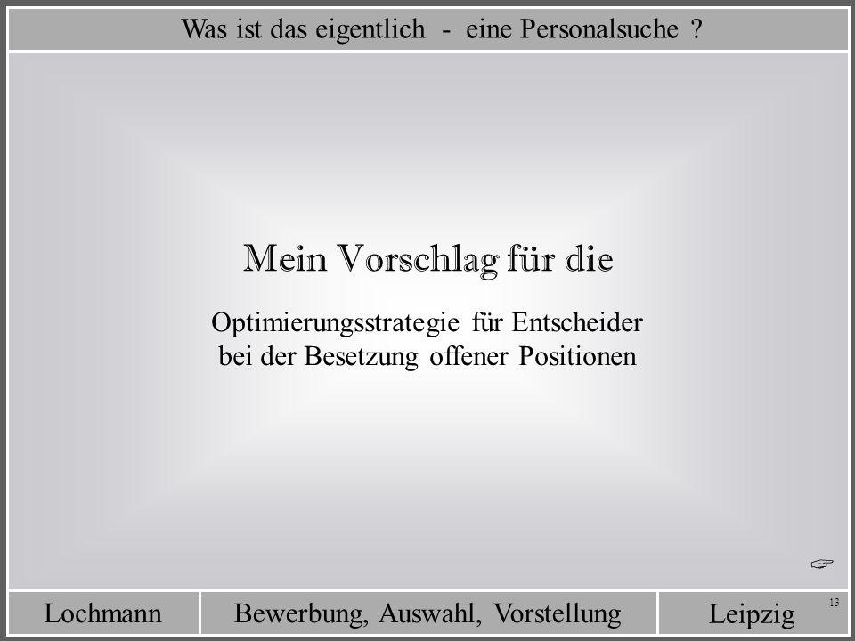 Leipzig Bewerbung, Auswahl, VorstellungLochmann 13 Optimierungsstrategie für Entscheider bei der Besetzung offener Positionen Was ist das eigentlich -