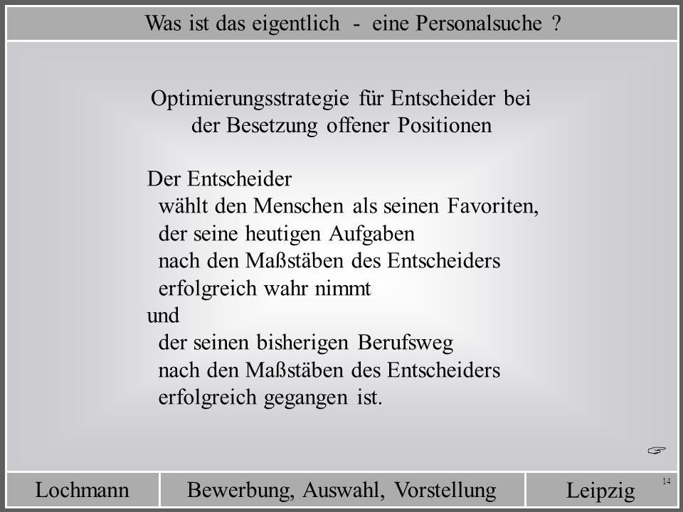 Leipzig Bewerbung, Auswahl, VorstellungLochmann 14 Was ist das eigentlich - eine Personalsuche ? Der Entscheider wählt den Menschen als seinen Favorit
