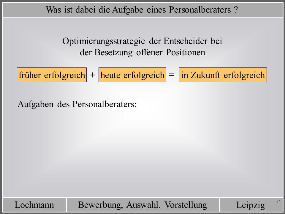Leipzig Bewerbung, Auswahl, VorstellungLochmann 17 Was ist dabei die Aufgabe eines Personalberaters ? Optimierungsstrategie der Entscheider bei der Be