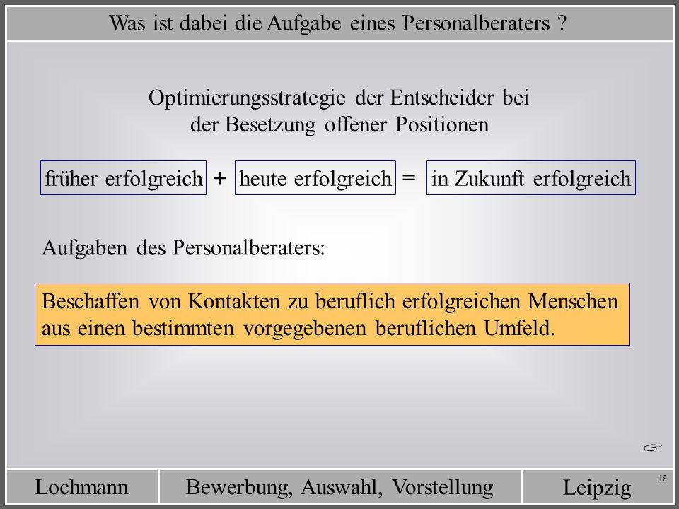 Leipzig Bewerbung, Auswahl, VorstellungLochmann 18 Was ist dabei die Aufgabe eines Personalberaters ? Optimierungsstrategie der Entscheider bei der Be