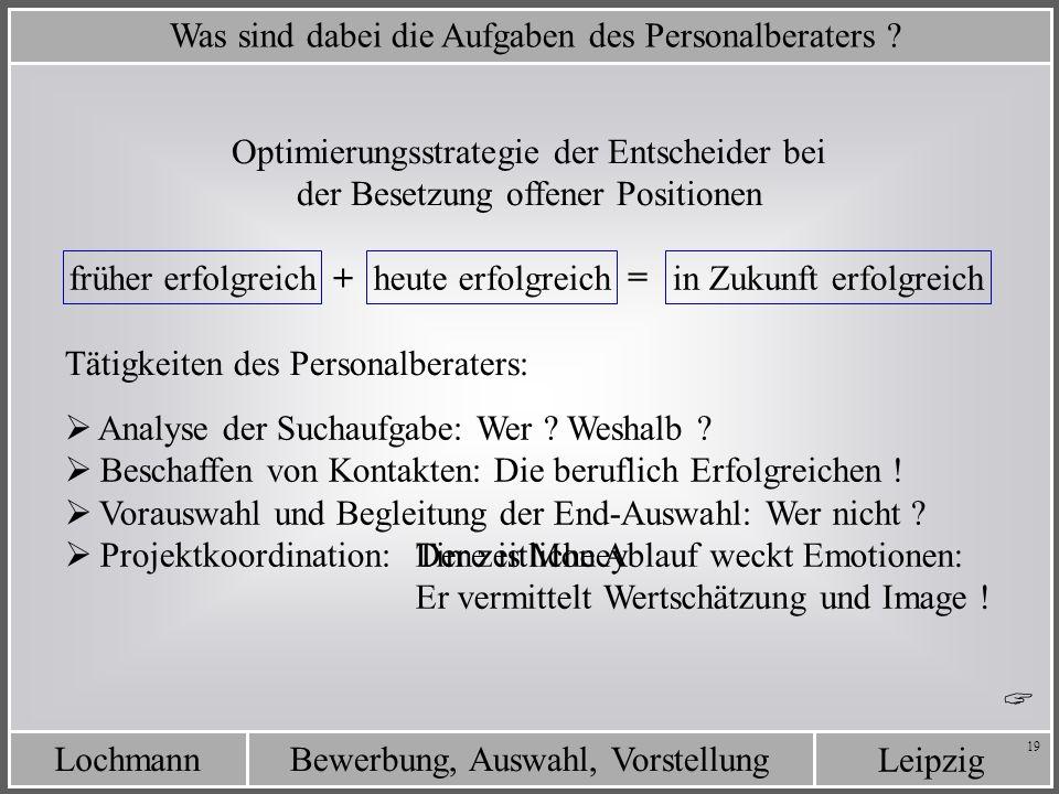 Leipzig Bewerbung, Auswahl, VorstellungLochmann 19 Was sind dabei die Aufgaben des Personalberaters ? Optimierungsstrategie der Entscheider bei der Be