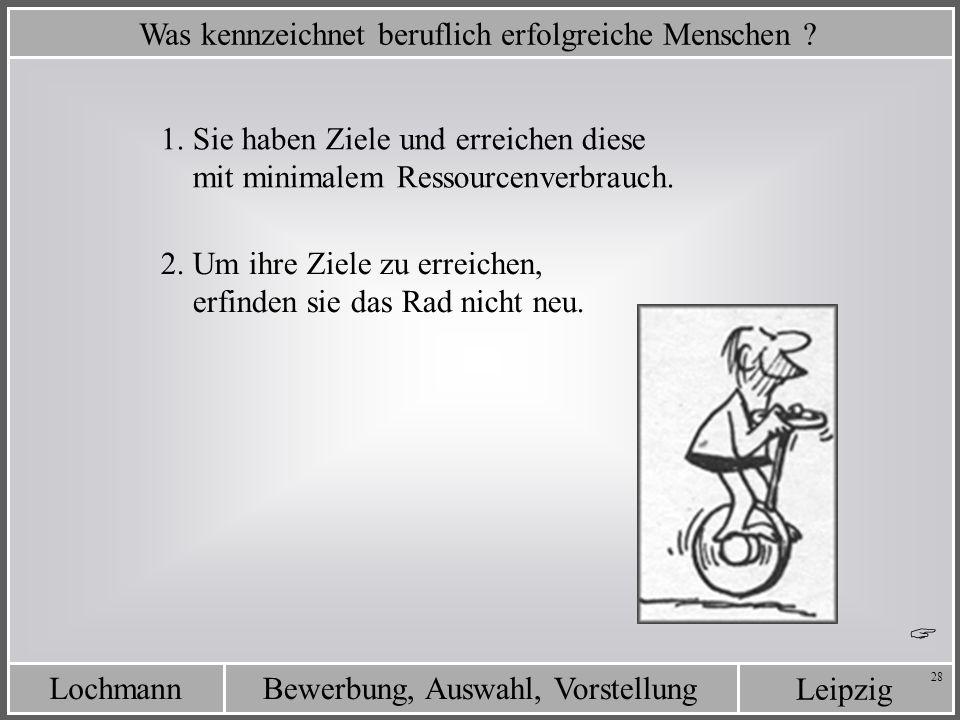 Leipzig Bewerbung, Auswahl, VorstellungLochmann 28 Was kennzeichnet beruflich erfolgreiche Menschen ? 2. Um ihre Ziele zu erreichen, erfinden sie das