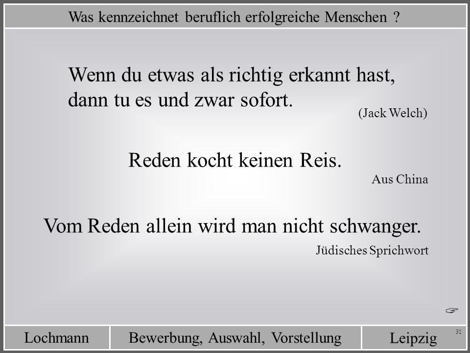 Leipzig Bewerbung, Auswahl, VorstellungLochmann 31 Was kennzeichnet beruflich erfolgreiche Menschen ? Wenn du etwas als richtig erkannt hast, dann tu