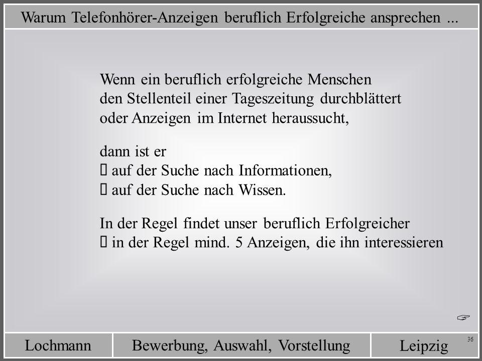 Leipzig Bewerbung, Auswahl, VorstellungLochmann 36 Warum Telefonhörer-Anzeigen beruflich Erfolgreiche ansprechen... Wenn ein beruflich erfolgreiche Me