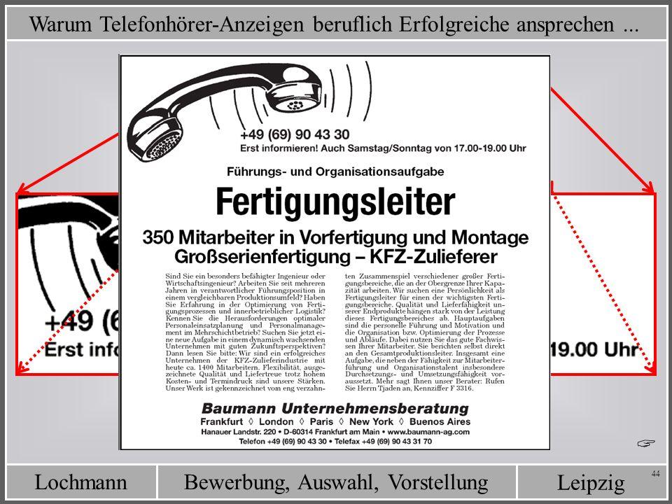 Leipzig Bewerbung, Auswahl, VorstellungLochmann 44 Warum Telefonhörer-Anzeigen beruflich Erfolgreiche ansprechen...
