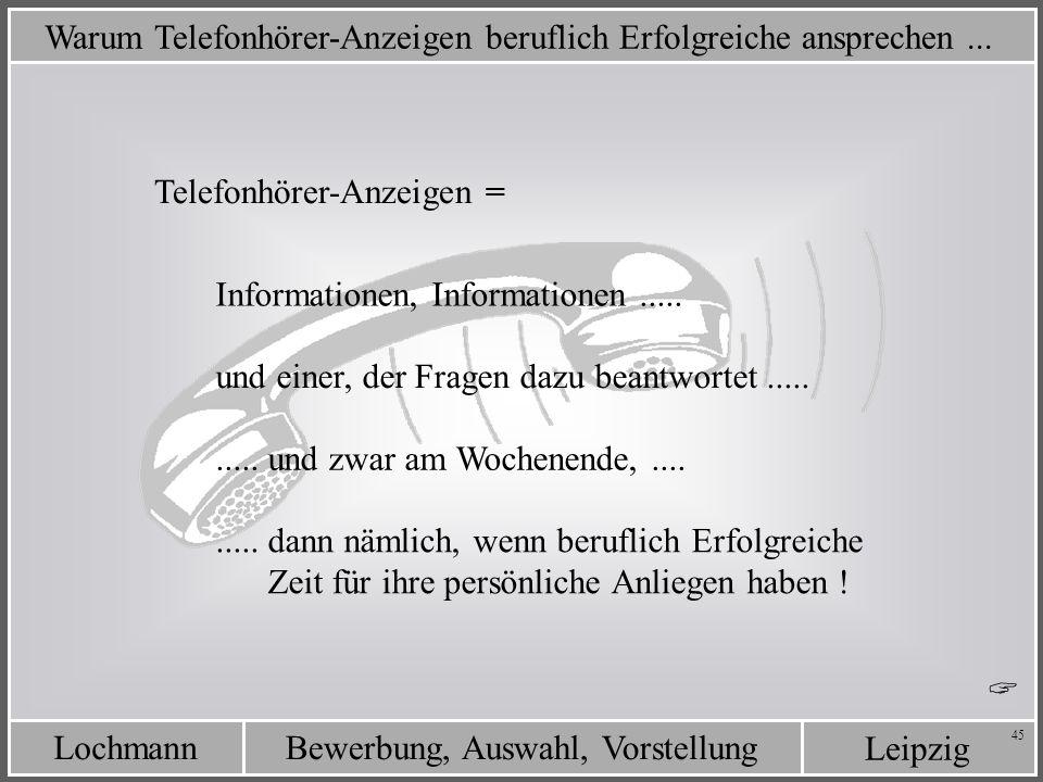 Leipzig Bewerbung, Auswahl, VorstellungLochmann 45 Warum Telefonhörer-Anzeigen beruflich Erfolgreiche ansprechen... Telefonhörer-Anzeigen = Informatio