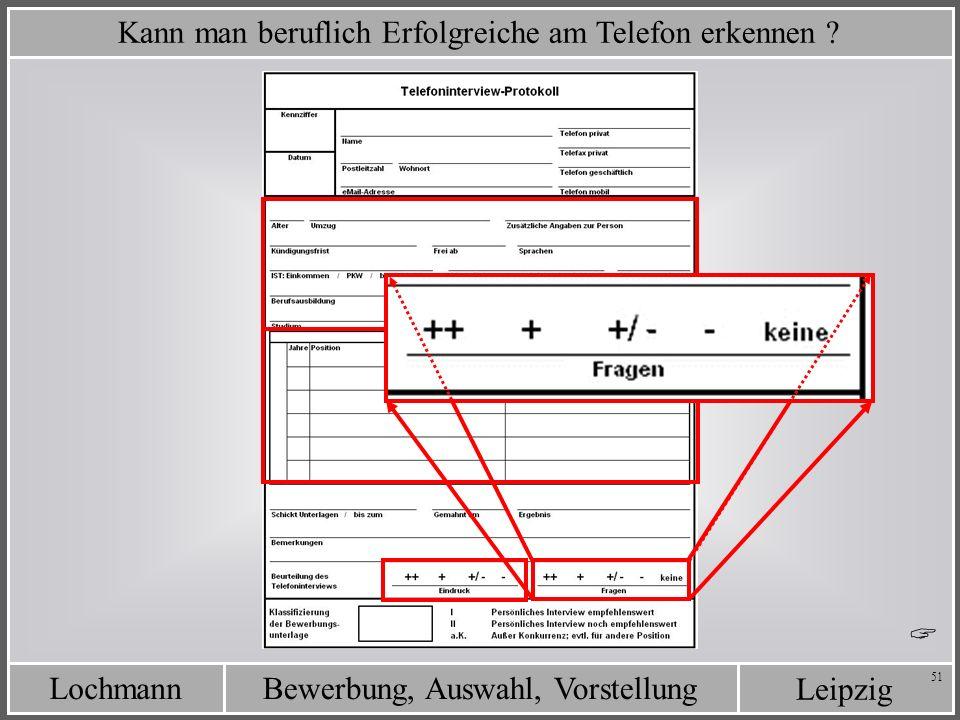 Leipzig Bewerbung, Auswahl, VorstellungLochmann 51 Kann man beruflich Erfolgreiche am Telefon erkennen ?