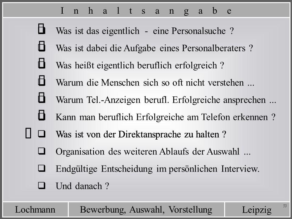 Leipzig Bewerbung, Auswahl, VorstellungLochmann 53 Was ist von der Direktansprache zu halten ? Was ist das eigentlich - eine Personalsuche ? Was ist d