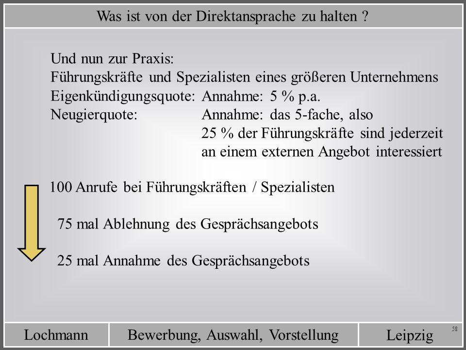 Leipzig Bewerbung, Auswahl, VorstellungLochmann 58 Was ist von der Direktansprache zu halten ? Eigenkündigungsquote: Neugierquote: Annahme: das 5-fach