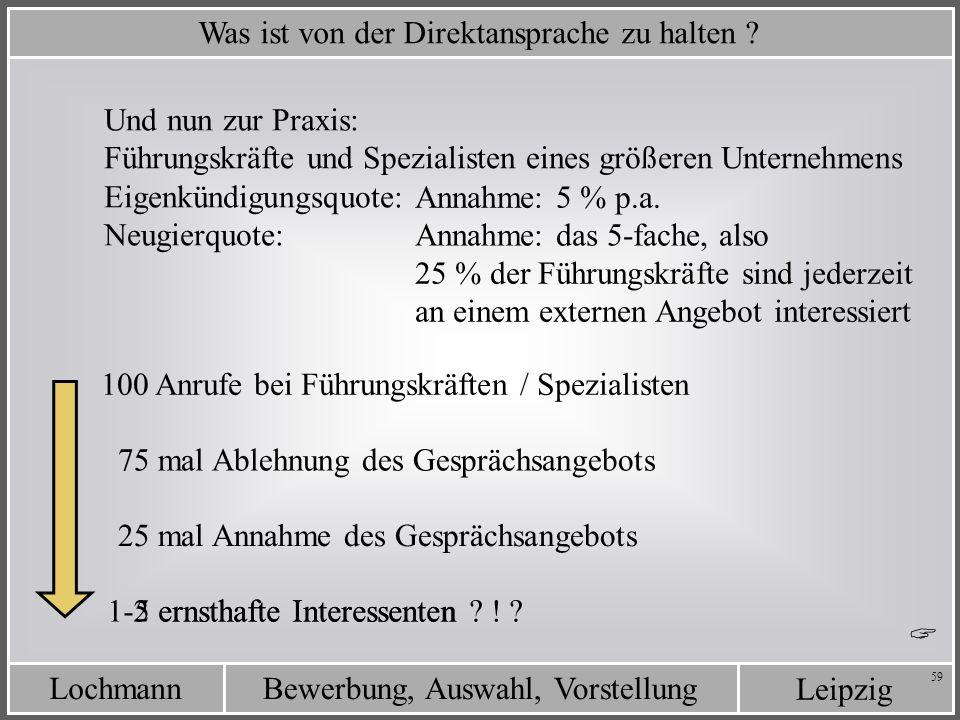 Leipzig Bewerbung, Auswahl, VorstellungLochmann 59 Was ist von der Direktansprache zu halten ? Eigenkündigungsquote: Neugierquote: Annahme: das 5-fach