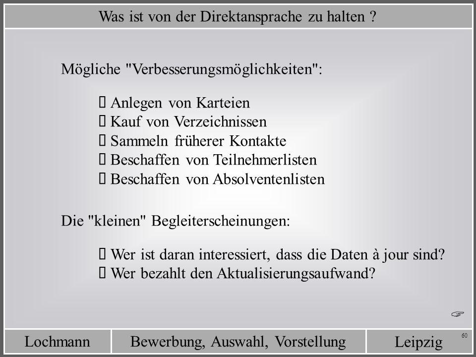 Leipzig Bewerbung, Auswahl, VorstellungLochmann 60 Was ist von der Direktansprache zu halten ? Mögliche