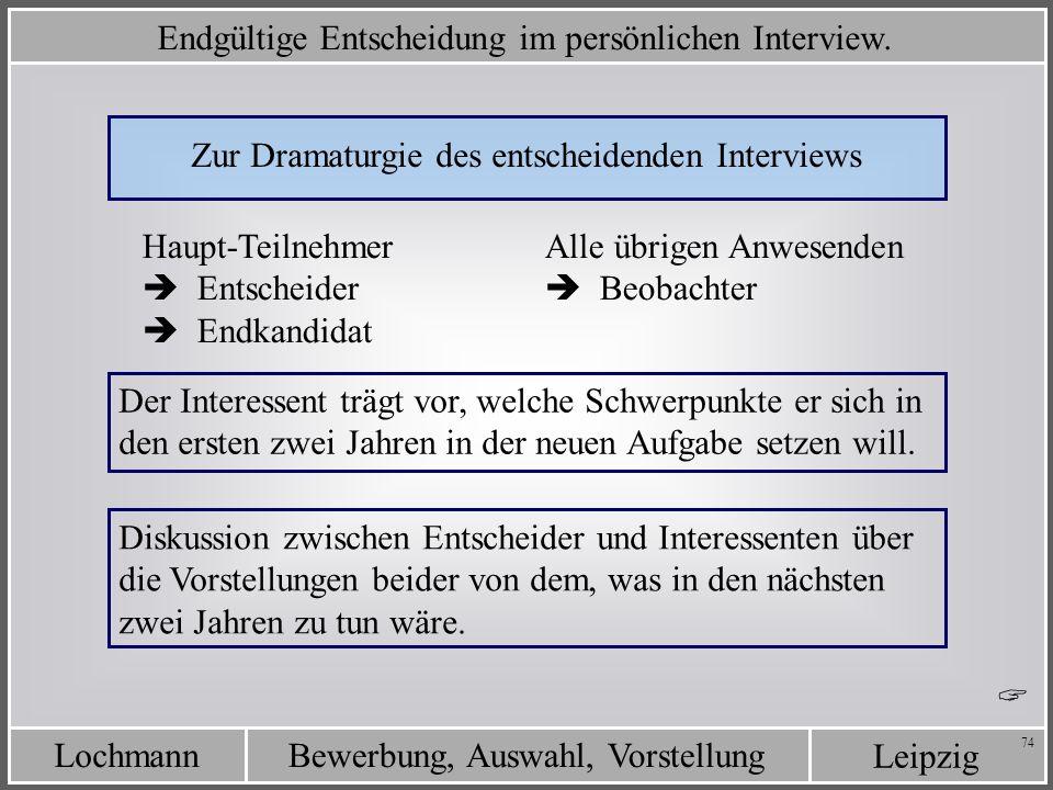 Leipzig Bewerbung, Auswahl, VorstellungLochmann 74 Zur Dramaturgie des entscheidenden Interviews Haupt-Teilnehmer Entscheider Endkandidat Alle übrigen