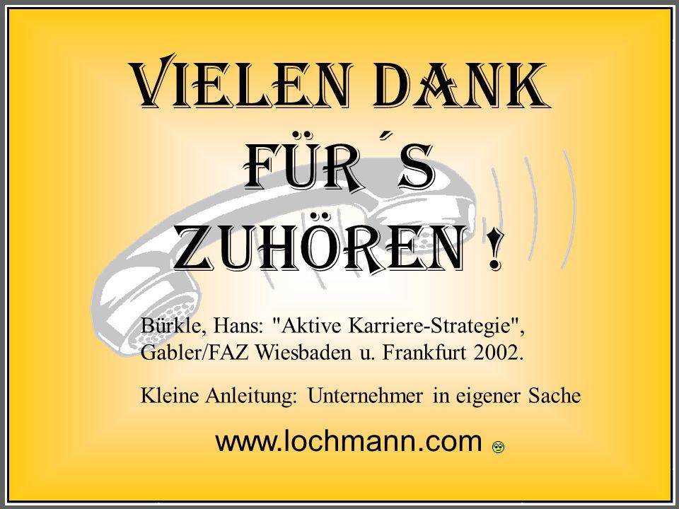 Leipzig Bewerbung, Auswahl, VorstellungLochmann 80 Vielen Dank für´s Zuhören ! www.lochmann.com Bürkle, Hans: