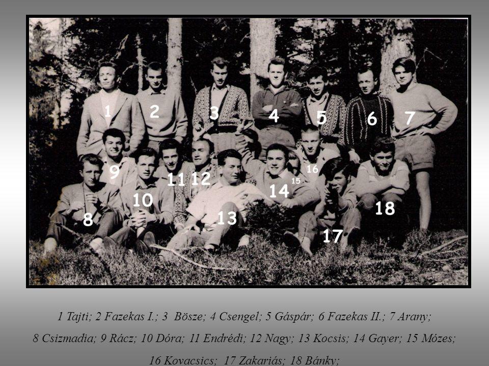 Wir waren in Wiesenhof der VII. Klasse 1957-1958 Arany Csaba Balázs Ottó Bán Iván (Dr.) Bánky Miklós Bognár Béla Bösze László (Ing.) Csengel György Cs
