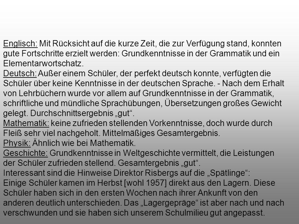 Im Zusammenhang mit den Maturaprüfungen referierte Direktor Risberg in seinem Bericht vom 4. Dezember 1957 rückblickend auch über die Anfänge der Schu