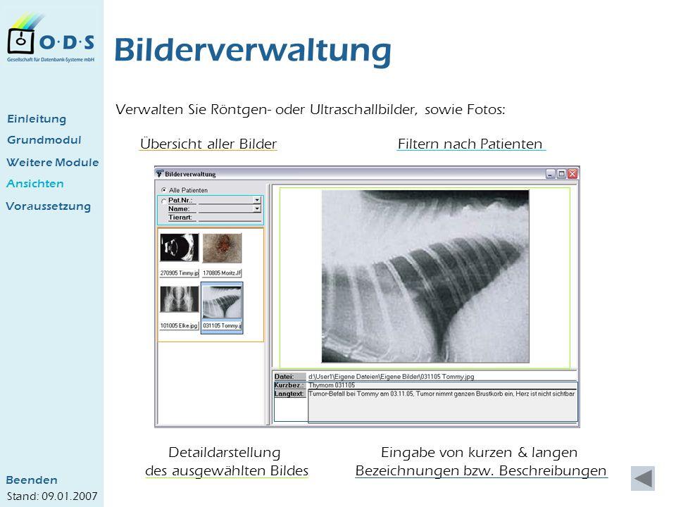 Grundmodul Weitere Module Ansichten Bilderverwaltung Verwalten Sie Röntgen- oder Ultraschallbilder, sowie Fotos: Übersicht aller Bilder Detaildarstell